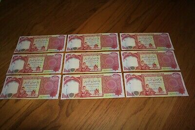 225,000 IQD - (9x) 25,000 IRAQI DINAR Notes - AUTHENTIC UNCIRC - FAST DELIVERY