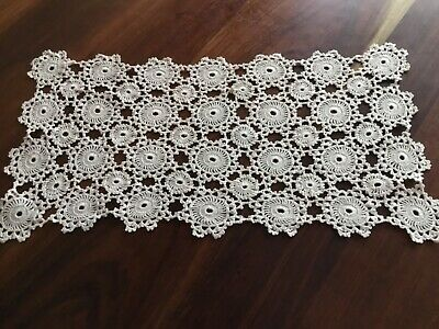 Vintage cream ecru hand crochet table  runner