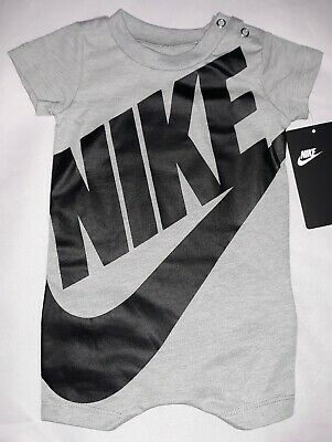 a6bedf1849b8ea Nike Baby Boy 3M 6M 9M Short Sleeve Gray Romper Coverall Jumpsuit Outfit NWT