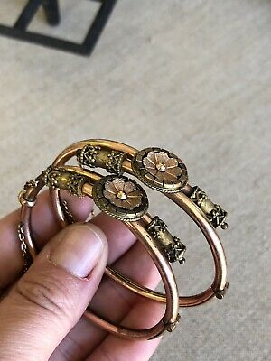 Pair of Antique Victorian Gold Filled Etruscan Revival Wedding Bangle Bracelets