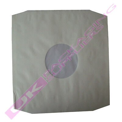 """500 x LARGE POLYLINED WHITE PAPER 12"""" LP RECORD VINYL SLEEVES INSERTS 305x310mm"""
