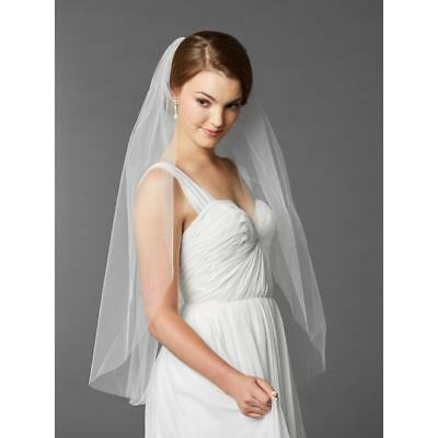long white bridal wedding veil single layer sheer hair accessories with comb