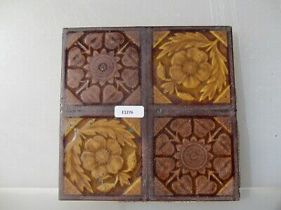 Antique Ceramic Tile Vintage Floral Flower Art Nouveau Victorian Floral Old Leaf