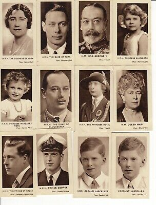 1930s Royalty Trade Cards Full set of 12