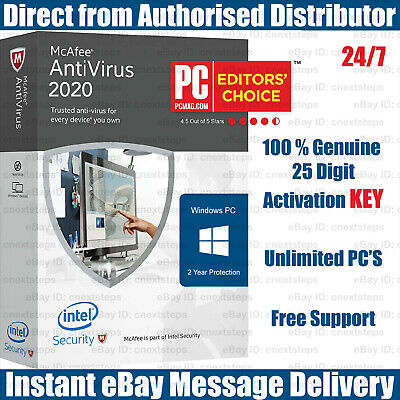 McAfee Antivirus 2019 Unlimited PC's for 2 Years KEYS Instant eBay Message