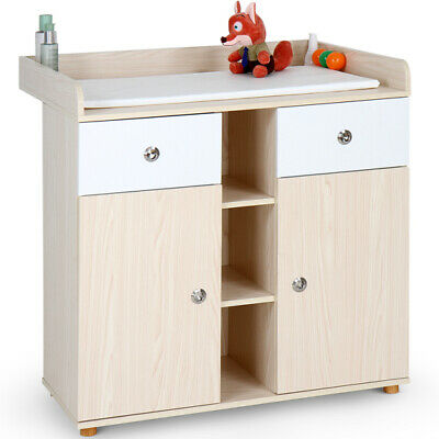 Changing Table Unit Baby Infant Chest Wooden Table Storage Space and 2 Drawers