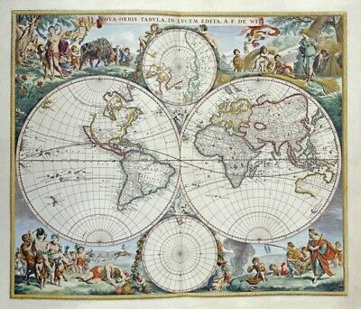 Wall-Art-PRINT-De-Wit--Frederick-Map-of-The-World-Poster-or-Canvas-Fine-Art