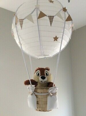 Chip/Dale  hot air balloon nursery light shade, made to order