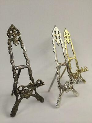 """LARGE BRASS NICKEL BRONZE EASEL 38cm PLATE DISPLAY PICTURE STAND WEDDING B04-15"""""""