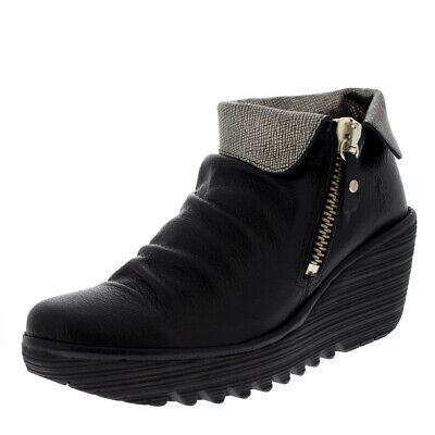 6113fa51fad Womens Fly London Yoxi Casual Mousse Leather Black Wedge Heel Ankle Boot US  5-11