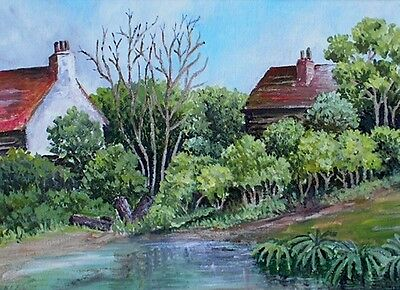 The Pond Beside Cottages Rural England Oil Painting Indistinctly Signed c1970s