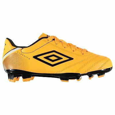 Umbro Classico Firm Ground Football Boots Juniors Orange Soccer Shoes Cleats 34b33b75744