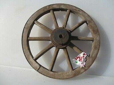 Antique Wooden Wagon Wheel Horse Cart Iron Strap Spokes Vintage Old French 14""