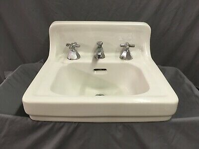 Vtg Mid Century Ceramic White Porcelain Bathroom Wall Sink Old Standard 29-19E