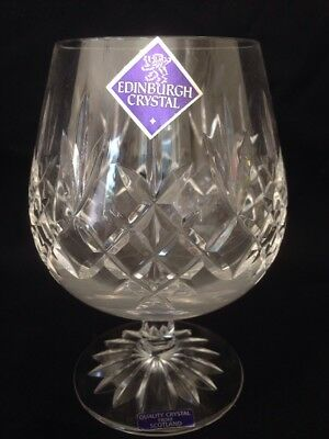 "Edinburgh Crystal Lomond Cut Brandy Glass, Signed 5"" Tall, 1st Quality"