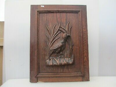 Victorian Carved Wooden Panel Plaque Door Antique French Old Wood Birds Nature