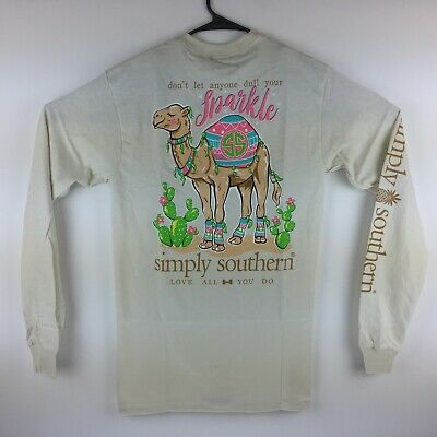 edc0fef8 Simply Southern Long Sleeve T-Shirt Preppy Sparkle Camel Tee Color Pearl  Sand