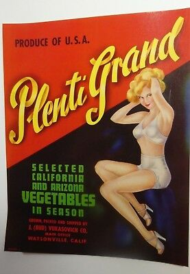 PLENTY GRAND Fruit crate label from the 50 ' s, vintage U.S.Litho