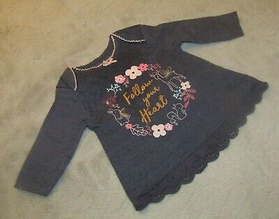 """Baby Girls Cotton """"Follow your Heart"""" Navy Long Sleeve Top Lace (0-3 Months)"""