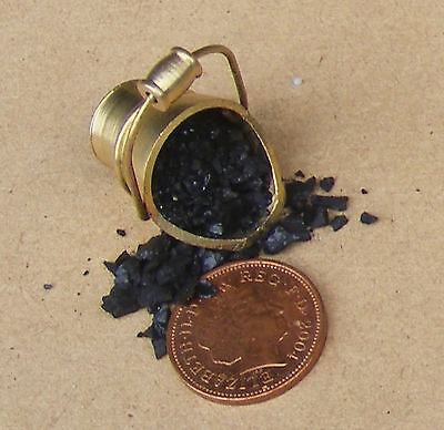 1:12 Scale Metal Scuttle With Real Coal Tumdee Dolls House Fireplace Bucket
