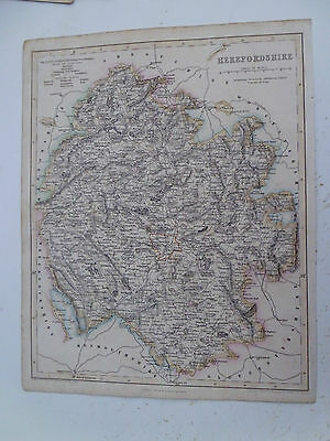 100% Original Herefordshire Map By Fisher C1863 Vgc Original Colour