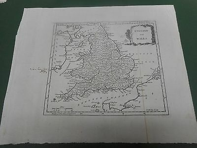 100% Original England And Wales  Map By Kitchin/bowen  C1780 Vgc Low Postage