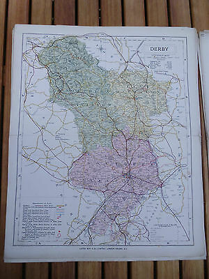 100% Original Derbyshire Map By Letts C1884 Railways  Low Postage Uk