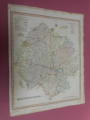 100% Original Herefordshire Map By Teesdale C1835  Vgc Original Colour
