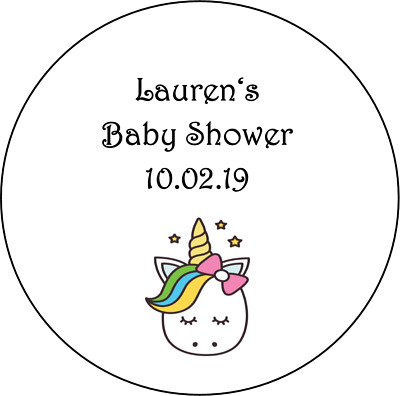 48 personalised baby shower stickers labels favours girl UNICORN round circle