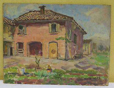 Painting Antique Oil On Board Signed Style Impressionist Landscape Countryside