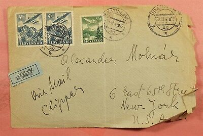 1941 Slovakia Bratislava Airmail Clipper To Usa * Front Only