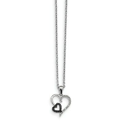 Sterling Silver Black and White Diamond Heart Pendant. Total Carat Wt- 0.118ct.