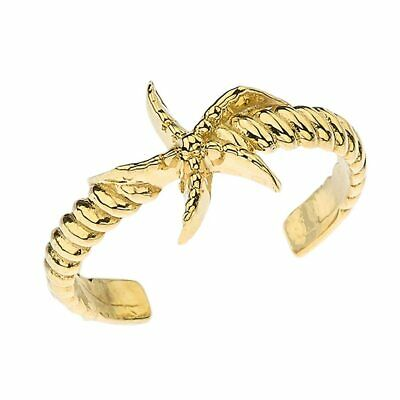 Solid 10k 14k Starfish Rope  Toe Ring In Yellow Gold