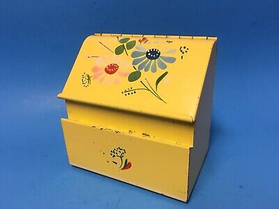 Vintage Yellow Ransburg Hand Painted Flowers Tin Recipe Box Wall Mount Counter