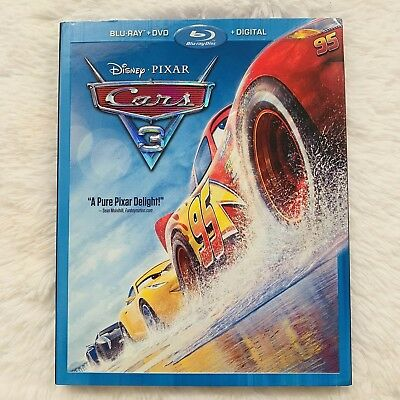 Cars 3 (Blu-ray+DVD, 2017, 2-Disc Set) Includes Slipcover DISNEY PIXAR