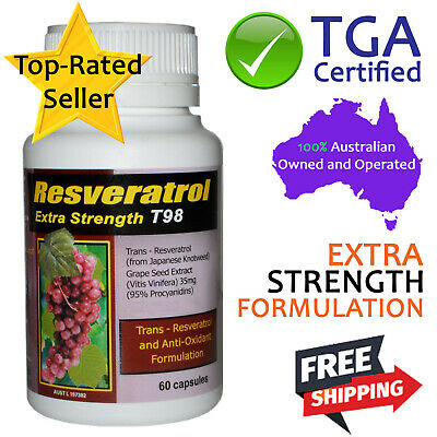 Trans Resveratrol Extra Strength with Grape Seed Extract Antioxidants