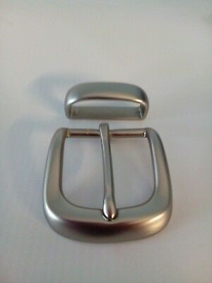 Solid Brass Buckle Plus Keeper  For 33 Mm To 35 Mm Belts  In Silver Colour