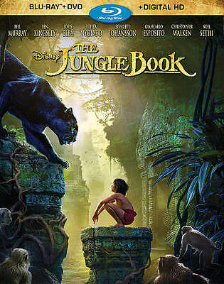 The Jungle Book (Blu-ray/DVD+Digital HD, 2016), with Slipcover