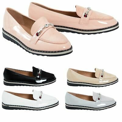 f398e37436d Ladies Buckle Detail Slip On Flat Sole Office Loafer Comfy Slider Shoes  Size 3-8