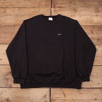 "Mens Vintage Nike Black Crew Neck Swoosh Jumper Sweatshirt XL 48"" R11445"