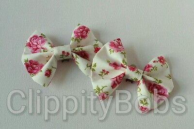 Pair Of Handmade Floral Pink Ditsy Flower Print Stripes Fabric Shoe Bows Clips
