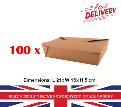 100 Brown Paper Lunch take away salad leak-proof rice noodle boxes party events