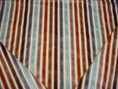 Romo Aqua Blue / Copper / Brown Velvet Stripe Drapery Upholstery Fabric