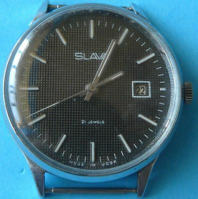 rare old vintage antique Russian SLAVA men date wrist watch~21 jewels date