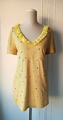 NEXT Adorable Yellow Maternity Top Red Stripe & Heart T Shirt Detail Size 16