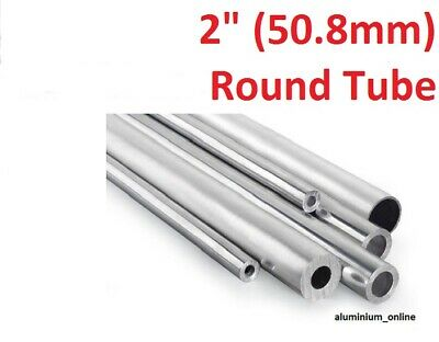 "ALUMINIUM ROUND TUBE 2"" (50.8mm) 4 thickness, lengths up to 2500mm 2.5m"