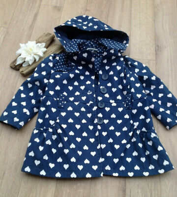 Millie Brand - Girls Age 2 Lightweight HEART coat cotton lined soft holiday camp