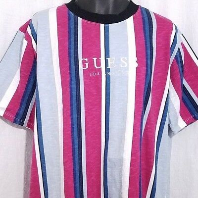 3ba55c4b4 GUESS Originals Sayer Striped T Shirt Oversized Retro Embroidered Size XL  NEW