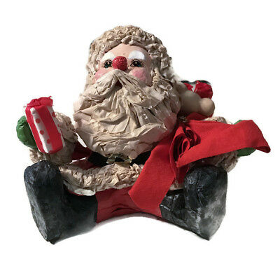 Vintage Paper Mache Santa Clause Christmas Figure Holiday Decoration 5.75x5.75