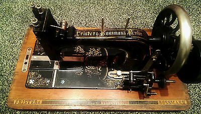 Antique Frister And Rossmann Berlin Very Rare German Hand Crank Sewing Machine !